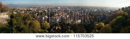 BERGAMO, ITALY - NOVEMBER 4, 2015: Citta Bassa (Lower Town) in Bergamo, Lombardy, Italy. Panoramic view pictured from the Citta Alta (Upper Town).