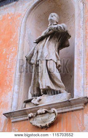 Roma, Italy, January, 16, 2016: Statue of S. Bonaventura in Roma, Italy