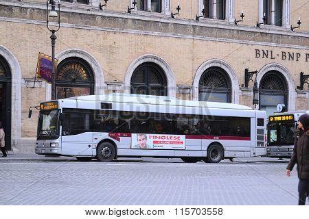 Roma, Italy, January, 16: bus stop in Roma, Italy