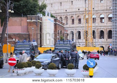 Roma, Italy, January, 16, 2016: Police car near the Coliseum in Roma, Italy