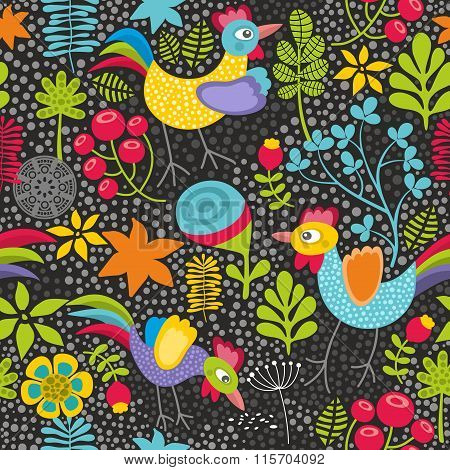 Seamless pattern with plants and cocks.