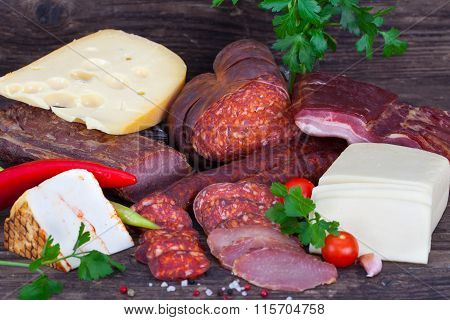 Sausages, cheese and spices