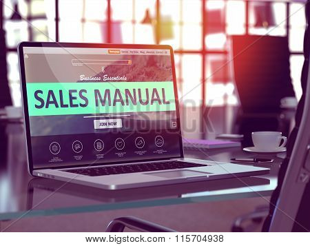 Laptop Screen with Sales Manual Concept.