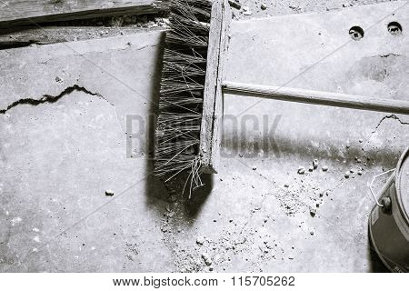 Black And White Shot Of An Old Broom