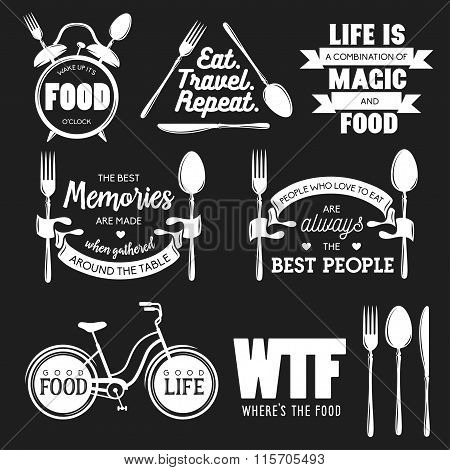 Set Of Vintage Food Related Typographic Quotes Vector Illustration