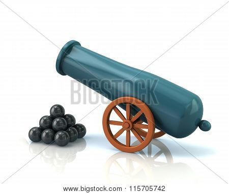 Old Cannon And Black Bombs
