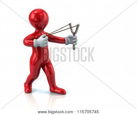Red Man Aiming Slingshot