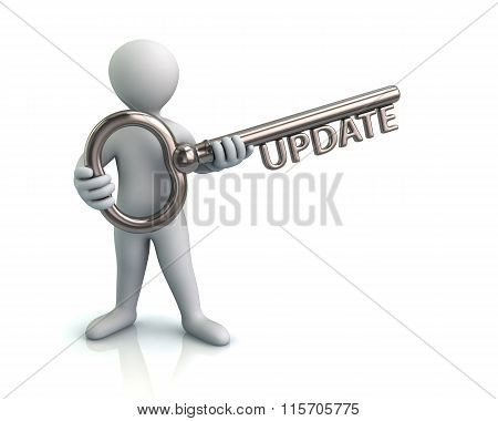 Man And Silver Key With Word Update