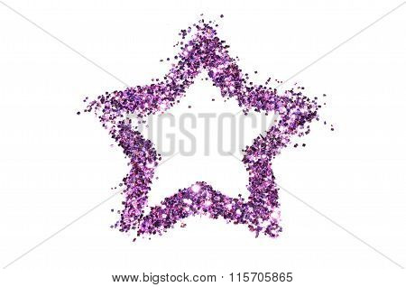 Abstract star of purple glitter sparkle on white background
