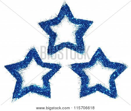 Three abstract stars of blue glitter sparkle on white background for your design
