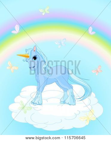 Illustration of standing beautiful unicorn on magic background