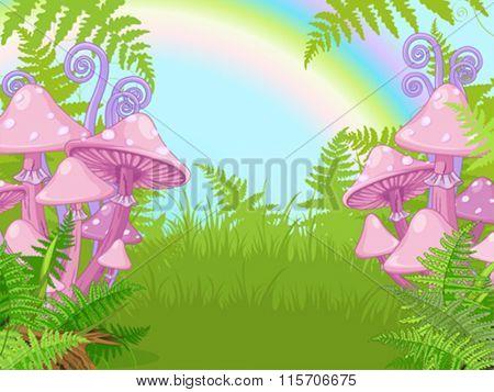 Fantasy landscape with mushrooms, fern, rainbow