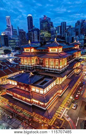 Singapore Chinatown And Financial District Skyline