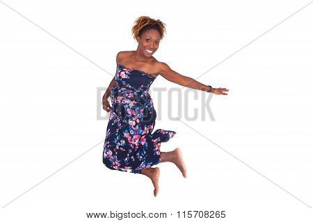 Portrait Of A Beautiful African American Woman Jumping