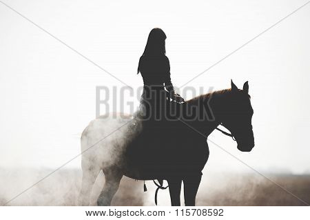 Silhouette of a beautiful girl riding a horse on a white background.