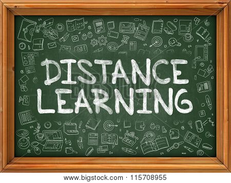 Hand Drawn Distance Learning on Green Chalkboard.