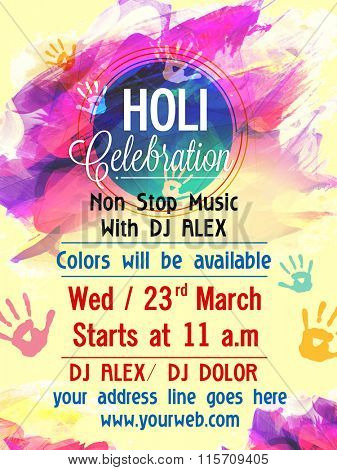 Abstract paint stroke decorated, Creative Pamphlet, Banner or Flyer design with date and time details for Holi celebration.
