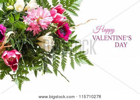 Bouquet Of Spring Flowers Isolated On White With Text, Happy Valentine's Day