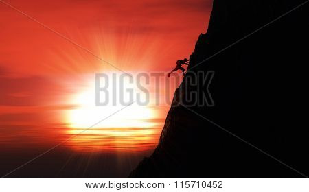 3D render of an extreme rock climber against a sunset sky