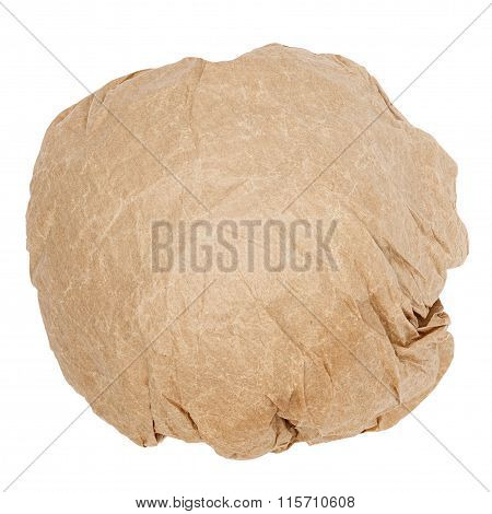 crumpled brown paper ball