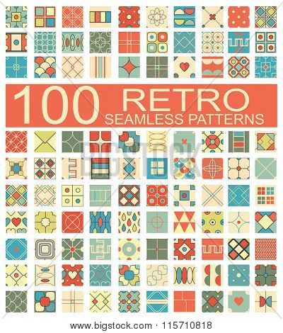 Set of 100 retro different vector geometric seamless patterns (tiling) of blue, orange, red, ivory, pink and green colors. Endless texture can be used for pattern fills, surface and textile textures