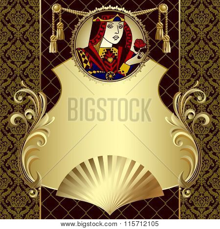 Vintage gold design template in decorative frame with playing cards character in the round