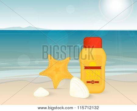 Bright banner with sunscreen lotion on the beach