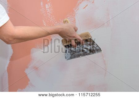 construction works, putty and leveling walls