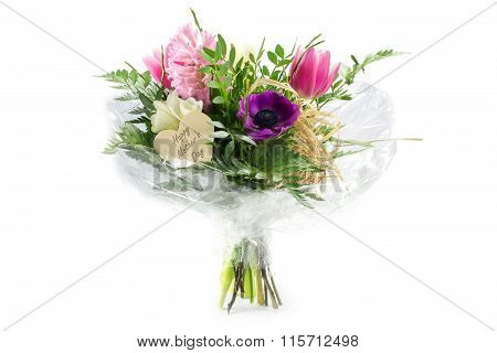 Flower Bouquet In Cellophane With A Wooden Heart Shape, Text Mother's Day, Isolated On White