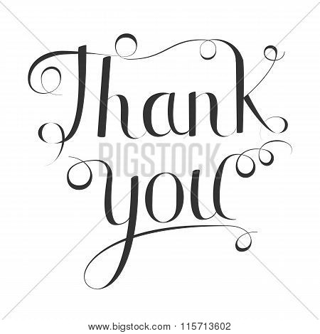 Thank you handwritten vector illustration,