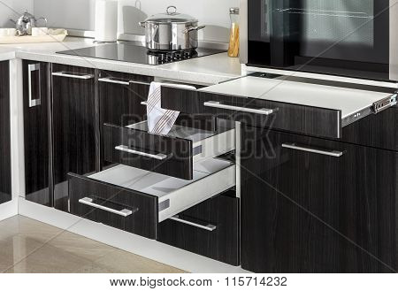 Part Of Modern Kitchen With Electric Stove Oven Details, Drawers And Handles