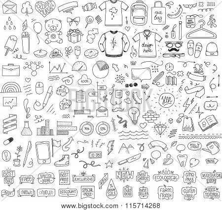 Isolated sketch objects bundle. Mega set of vector doodles. Hand drawn funny things. Black on white