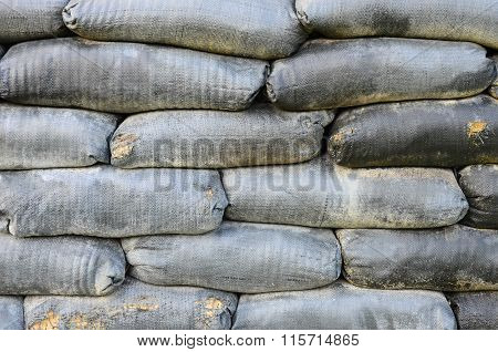 Sand bag bunker with  background