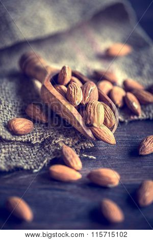 Almonds In A Wooden Scoop