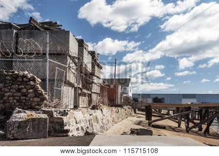 Old Factory Building On Beach