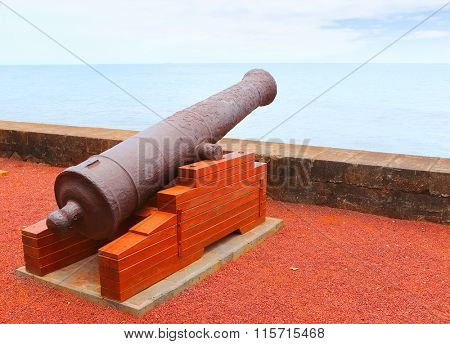Old navy cannon on waterfront in Saint-Denis, Reunion Island.