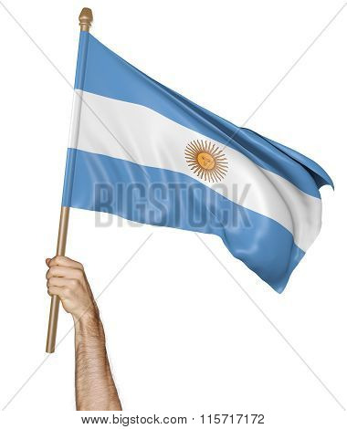 Hand proudly waving the national flag of Argentina