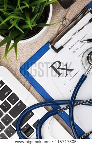 Close-up Top View Of Medical Doctor Working Place