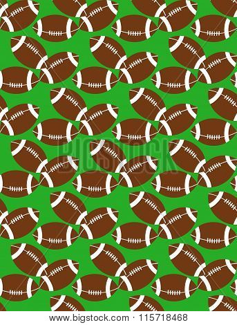 Seamless pattern of american football balls on grass