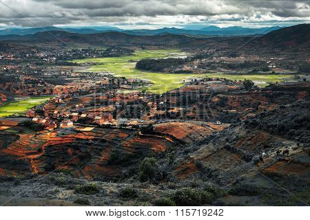 Valley with villages and green fields. Madagascar