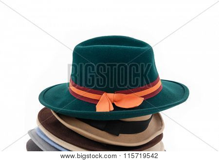 Set of fedora hat isolated