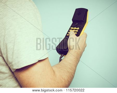 Caucasian Man With A Telephone Receiver In His Hand.