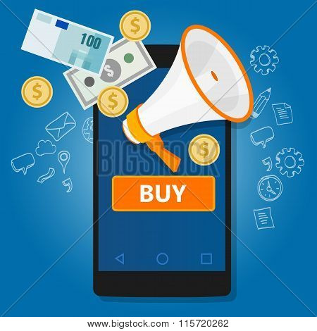 mobile payment click to buy online transaction phone commerce