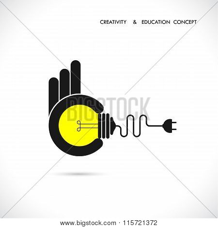 Flat Illustration Of A Great Ideas Competition.hand Holding Bulb.human Hand With Idea Light Bulb.con