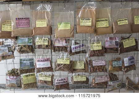 Assortment Of Packaged Herbs In Brazilian Market