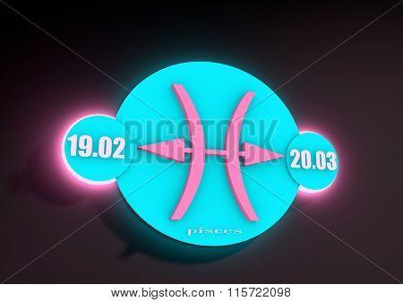 Zodiac Sign Pisces On A Dark Background. Neon Shine