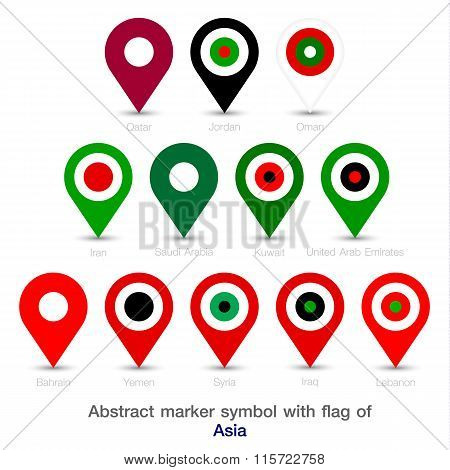 Abstract Marker Symbol With Flag Of Asia.