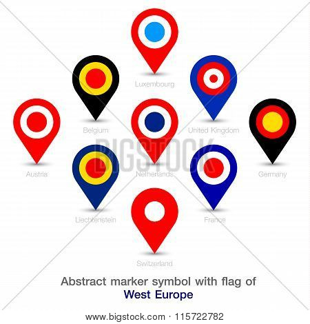 Abstract Marker Symbol With Flag Of West Europe.