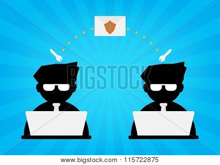 Two Businessman With Computer Laptop Send Email Data With Protection Shield And Key Decryption On Bl