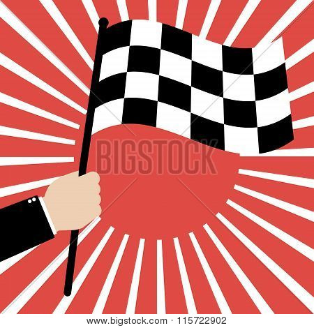 Businessman Hold A Race Finish Flag On Red Sunrays Background. Vector Illustration Business Success